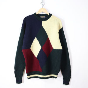 vintage brooks brothers colorblock wool sweater L